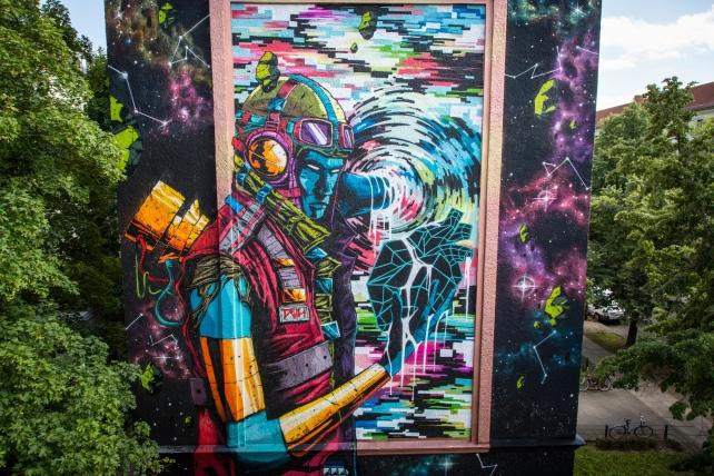Projet One Wall avec l'artiste Deih XLF, Schwedter Straße 34, Berlin. 2017 ©Schmoo Theune